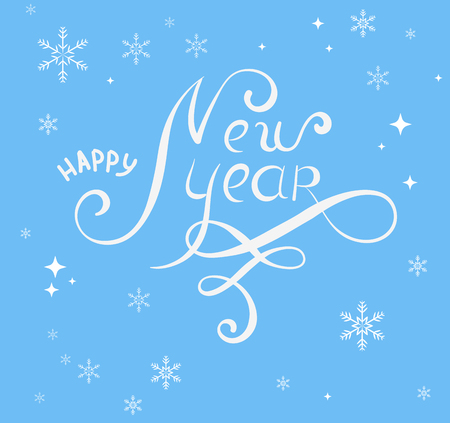 Blue Happy New Year card with snowflakes. Greeting card or festive poster. Vector background.
