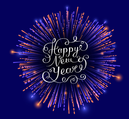 Blue Happy New Year card with firework. Greeting card or festive poster. Vector background.
