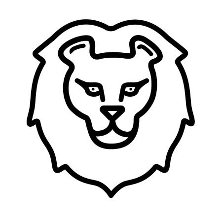 Black silhouette of a lions head isolated on white. Cartoon print for kids, for fabrics and decoration. Vector background. Ilustrace