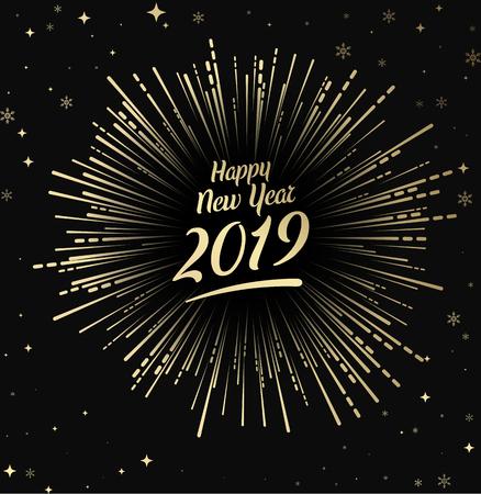 Tarjeta negra feliz año nuevo 2019 con fuegos artificiales oro. Tarjeta de felicitación o cartel festivo. Fondo de vector. Ilustración de vector