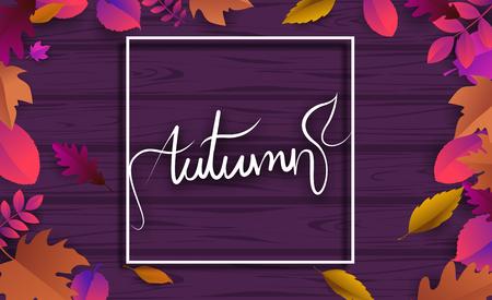 Fioletowe drewniane teksturowanej jesień tło z pięknymi opadłymi liśćmi. Wektor ard, plakat lub szablon okładki.
