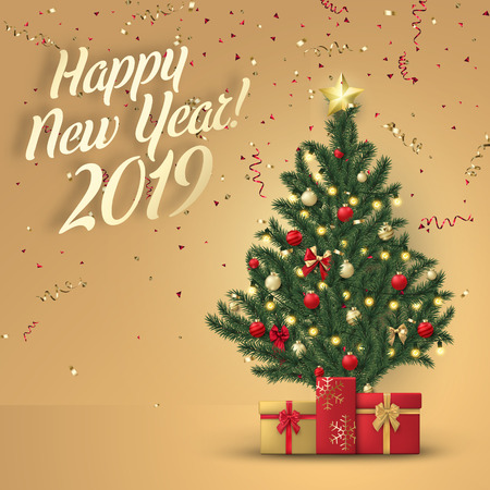 Happy New Year 2019 card with Christmas tree, gifts and serpentine. Greeting card or festive poster. Vector background.