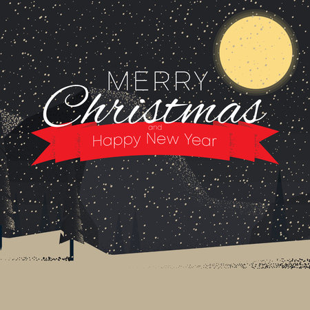 Merry Christmas and Happy New Year greeting card with snow. Vector background. Illustration