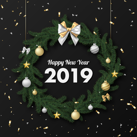 Happy New Year 2019 card with Christmas wreath and confetti. Vector background. Çizim