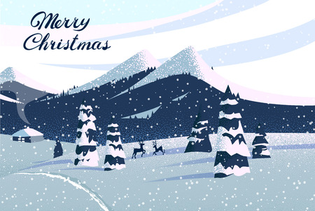 Merry Christmas card with magic winter landscape and snow. Vector background.