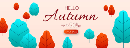 Hello autumn 50% shop sale. Promo banner with colorful leaves. Vector background.