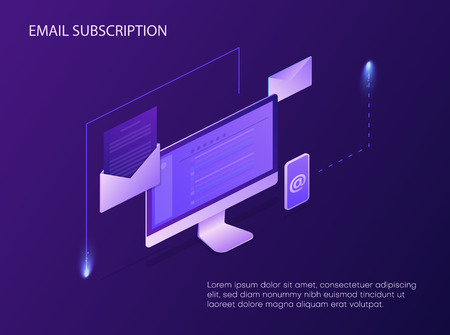 Email subscription. Landing page or presentation template with mobile devices. Vector background.