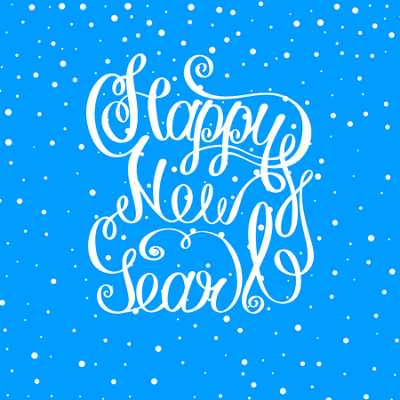 Blue Happy New Year sign with snow. Greeting card or festive poster. Vector background.