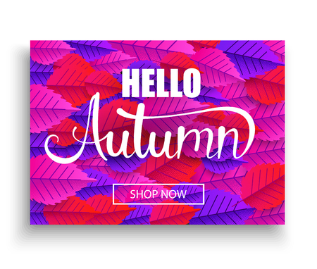 Hello autumn promo poster with leaves pattern. Seasonal offer, shop now. Booklet design. Vector background. Ilustracja