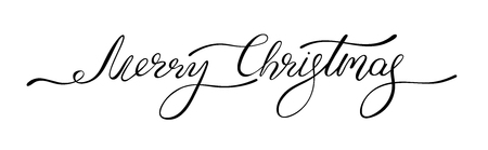 Black Merry Christmas inscription. Decor template for greeting card or festive poster. Vector background.