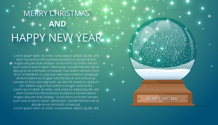 Merry Christmas and Happy New Year card with empty snow globe. Landing page template. Vector background.
