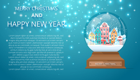 Merry Christmas and Happy New Year card with snow globe with cute houses. Landing page template. Vector background. Illustration