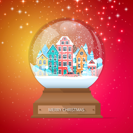 Merry Christmas spectrum poster with snow globe with cute town. Greeting card. Vector background.