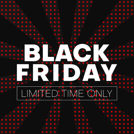 Black friday sale promo poster. Limited time only. Pop art style. Vector background. Çizim