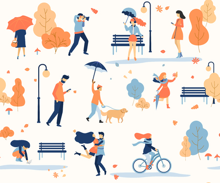 Autumn seamless pattern with people walking in park. Flat style. Design for fabric, paper. Vector background.
