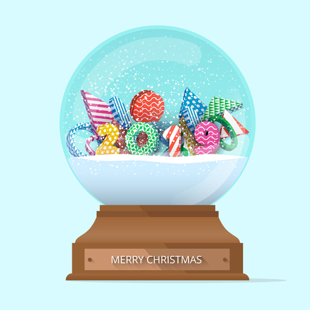 Green isolated Merry Christmas 2019 snow globe. Greeting card or festive decor. Vector background.