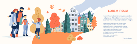 Autumn cityscape. People spend leisure time outdoors in park. Flat style design. Landing page or banner template. Vector background.