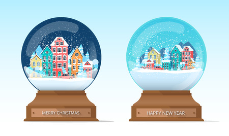Merry Christmas and Happy New Year isolated snow globes with cute winter cityscape. Vector template for greeting card or holiday decor.