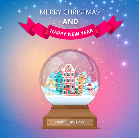Merry Christmas and Happy New Year poster with snow globe with cute town. Greeting card. Vector background. Illustration