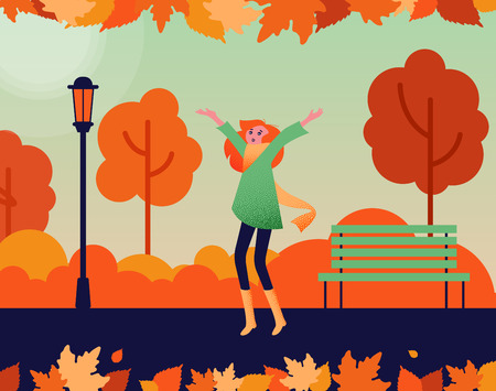 Happy girl walking alone outdoors in autumn park. Autumn mood poster. Flat style design. Vector background.
