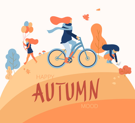 Happy autumn mood. People walk and spend weekend outdoors in park. Flat style design. Vector background.