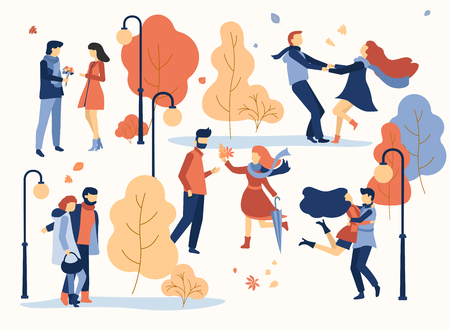Happy enamored couples meet and walking in park. Golden autumn illustration. Flat style design. Vector background.