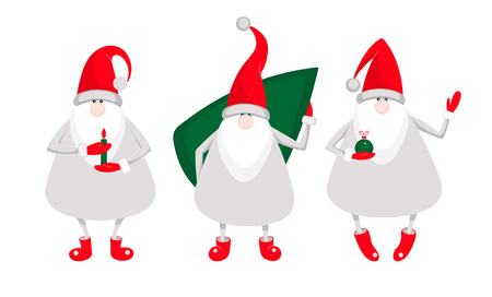 Set of cute cartoon Santa Clauses isolated on white background for Christmas and New Year decoration. Flat style vector design. Stock Illustratie