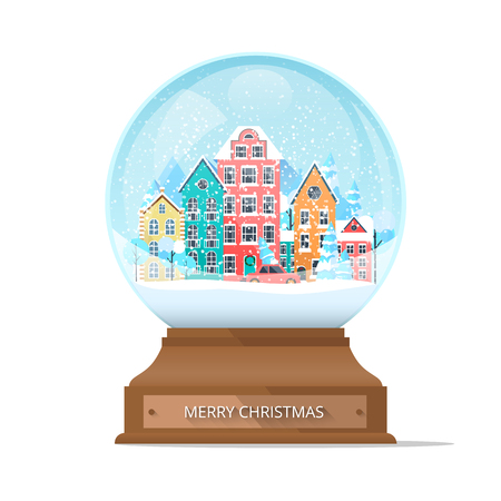 Merry Christmas snow globe isolated on white with cute winter town and snowflakes. Vector background. Illustration