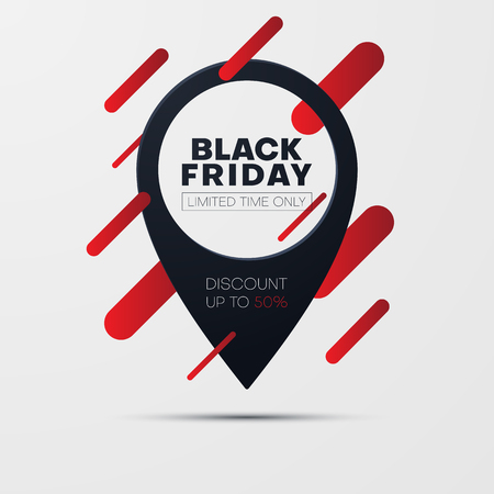 Black friday sale poster with location mark. Limited time only. Promo or advertising template for store. Vector background.
