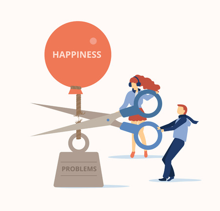 La gente corta problemas pesados con tijeras y libera felicidad. Ayuda psicológica, terapia, coaching. Diseño de estilo plano. Fondo de vector.
