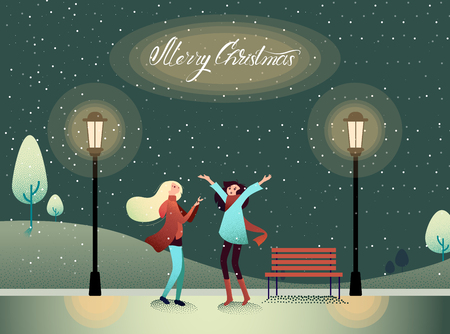 Merry Christmas card with happy girls walk in park with snow. Winter holiday mood poster. Flat style design. Vector background.