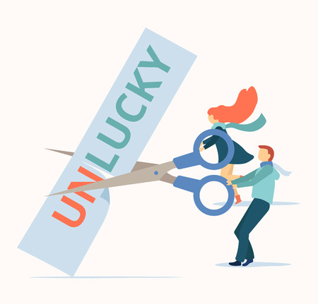 People cut with scissors all unluckiness and problems for be happy. Psychological help, therapy, coaching. Flat style design. Vector background.