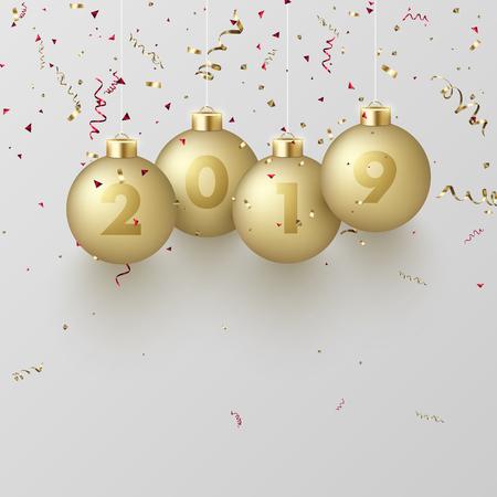 황금 3d 크리스마스 공 및 뱀과 함께 행복 한 새 해 2019 인사말 카드. 축제 장식입니다. 벡터 배경입니다.