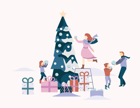 Christmas and New Year card with presents and people decorate Christmas tree. Flat style design. Vector background.