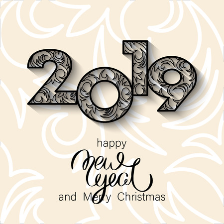 Merry Christmas and Happy New Year 2019 greeting card. Vector background.