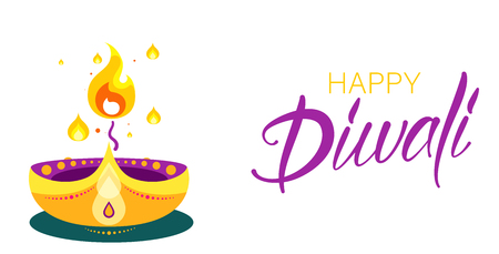 White Happy Diwali Hindu greeting card with oil lamp and candle. Traditional festive decor. Vector background.