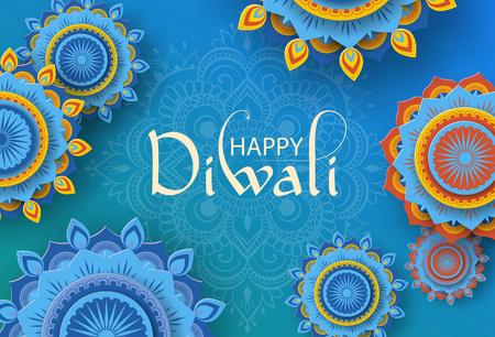Carte de voeux hindoue Happy Diwali bleu avec ornement mandala traditionnel. Fond de vecteur.