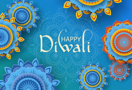 Blue Happy Diwali Hindu greeting card with traditional mandala ornament. Vector background. Vectores