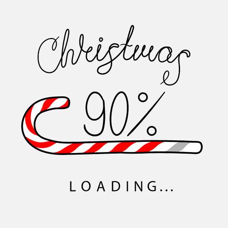 Affiche créative de chargement de Noël à 90 % avec barre de progression en forme de canne en bonbon. Fond de vecteur.