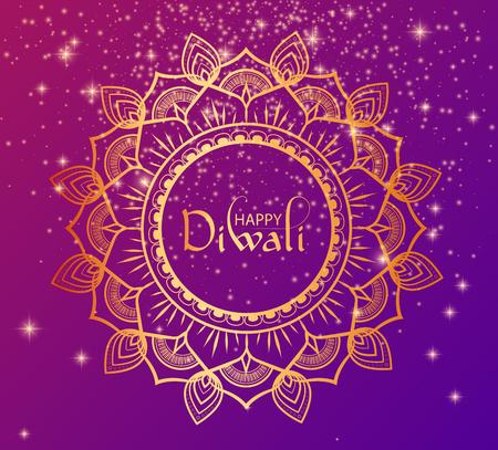 Happy Diwali Hindu poster with golden traditional mandala. Vector background. Stock Vector - 109080515