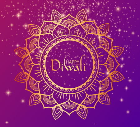 Happy Diwali Hindu poster with golden traditional mandala. Vector background.