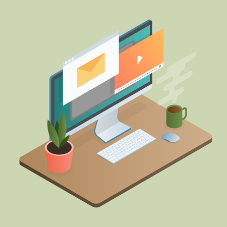 Office or home workspace with computer and cup of coffee. Isometric 3d design. Vector illustration.