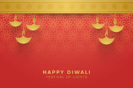 Red Happy Diwali card with gold floral pattern for Festival of lights. Vector background. Иллюстрация
