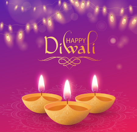 Happy Diwali shiny greeting card with oil lamps and decorative lanterns. Vector background.