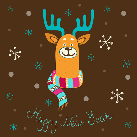 Happy New Year greeting card with cute cartoon deer and snow. Vector background.