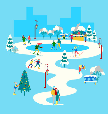 Winter poster with happy people walking outdoors in city park, skiing, skating, spend leisure time. Flat style design. Vector background. Stock Illustratie