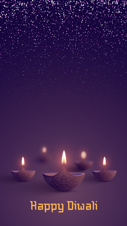 Purple shiny  Happy Diwali greeting card with oil lamps. Festival of lights design. Vector background.