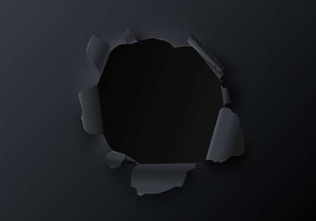 Black creative template with torn paper decor. Realistic ragged hole. Vector background. Иллюстрация