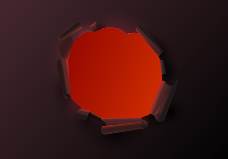 Red creative template with torn paper decor. Realistic ragged hole. Vector background.