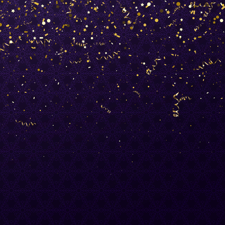 Purple shiny festive backdrop with golden serpentine and confetti. Holiday, anniversary, Christmas, New Years decoration. Vector background.